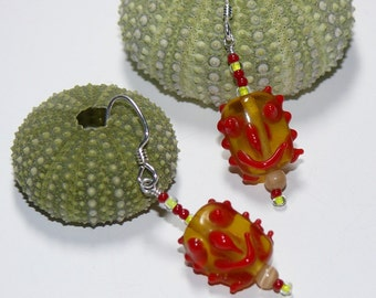 Smiley Face Yellow & Red Lampwork Dangle Sterling Silver Handmade Earrings