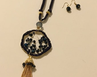 Navy Blue Leather necklace