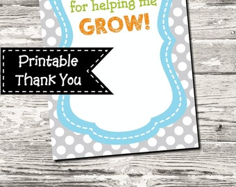 Thank You For Helping Me Grow Year End Teacher Thank You Card Printable Digital INSTANT DOWNLOAD