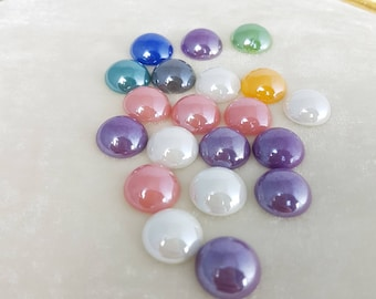 Pack of 20 ceramic Cabochons, half round mixed color