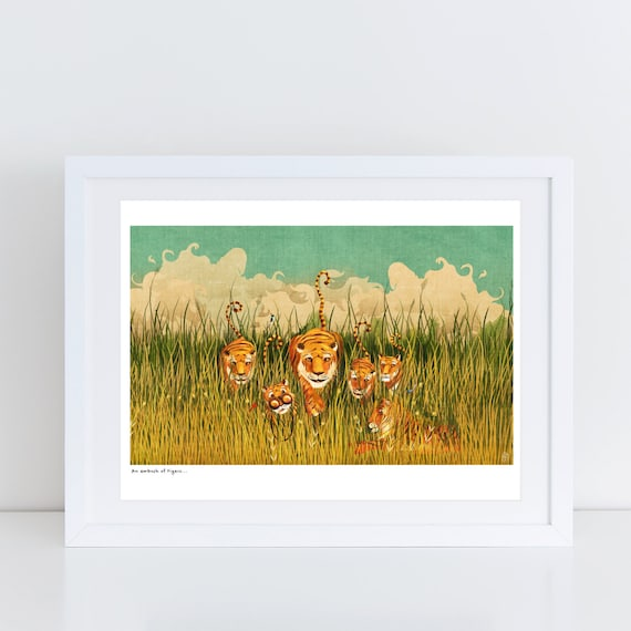 An Ambush of Tigers! (cover illustration) - Signed Print from An Ambush of Tigers book
