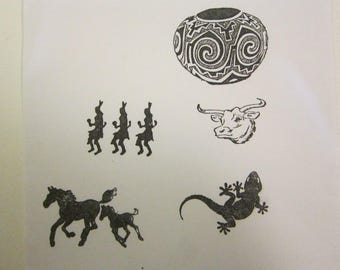5 SOUTHWEST rubber stamps - horses, gecko, steer, painted pot, Native American dancers- unmounted stamps