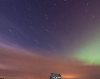 Rural Farm, Farmhouse, Abandoned Farm, Night Sky, Country Farm, Northern Lights, Rural LandscapeAurora Borealis, Stars