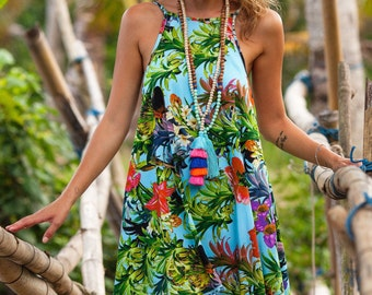 Ladies Swing Dress - Aqua Floral Mixed flower Print with Aqua Pom Pom's