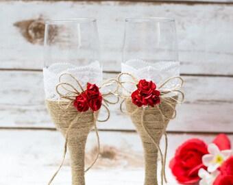 Wedding Toasting Glasses  Rustic Champagne Glasses Flutes Toasting burlap Red Rose Glasses Rustic Wedding Champagne Flutes