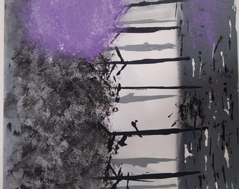 Painting of a Purple Tree
