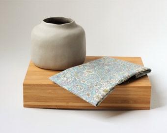 Floral light blue pocket square, Mens Pocket Square, wedding ties, Cotton Pocket Square, Mens Handkerchief, Gift for him, Handkerchief