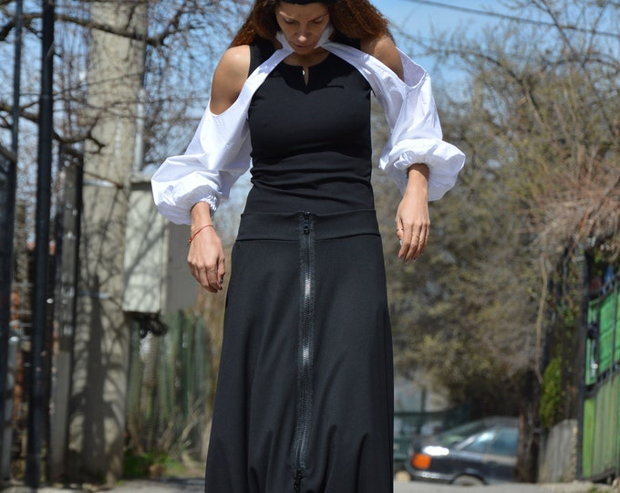 Oversize Low Bottom Pants, Black Wool Drop Crotch Pants, Extra Long Zipper Pants, Comfortable Wide Leg Pants by SSDfashion