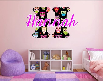 """Multicolored Owls Monogram Name Girls Room Vinyl Wall Decal Graphics 22"""" tall Bedroom Decor"""