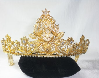 Gold rhinestone tiara crown headpiece bridal, prom, quenceanera, pageant, party, formal, festival, headband, hairpiece, costume tiara, crown