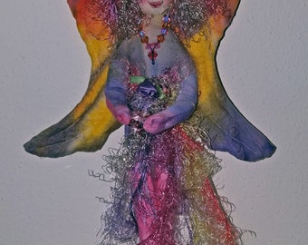 OOAK, Fiber Sculpted SUNSET ANGEL, wall accent, silk face, Swarovski crystal accents