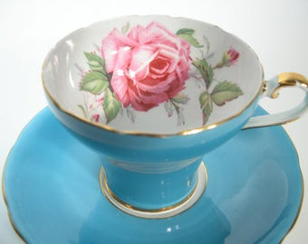 Aynsley Tea Cup and Saucer,  Aynsley Large Pink Rose tea cup and saucer, Turquoise Blue tea cup and saucer with a Large pink rose.