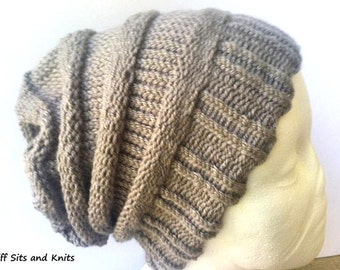 Slouchy Beanie Slouch Hat Knit Grey Yarn Women's Fall Accessory Ribbed  Over Sized Baggy Hat Gray