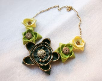 Green necklace, Flower necklace, Zipper necklace, Handmade necklace, Handmade jewelry, Gift for her
