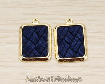 PDT1584-02-G-BL // Glossy Gold Plated Blue Colored Synthetic VELVET Covered Rectangle Picture Frame Charm Pendant, 2 Pc