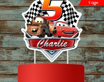 Cars Cake Topper, Disney Cars Printable Cake topper, Lighting Mcqueen Party Decorations, Lighting Mcqueen Centerpieces, Cars 3 Birthday