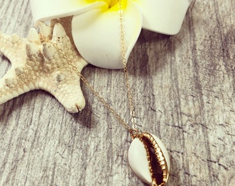 Gold dipped Cowrie Shell Necklace, Gold Shell Necklace, Shell Necklace