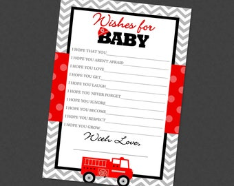 Firetruck Well Wishes for Baby Shower Printable - INSTANT DOWNLOAD - Boy Fire Engine Truck Firefighter Advice Cards