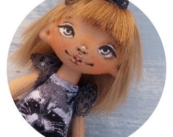 Doll with raccoon,raccoon,mini doll,bow,skirt-tutu,blond,gift,for daughter,for girlfriend,for myself,cutie,grey,smile,sweet,bear,panda,teddy
