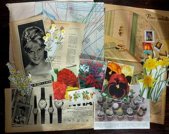 Vintage yellow flowers set / Vintage Paper Bundle / Vintage Ephemera