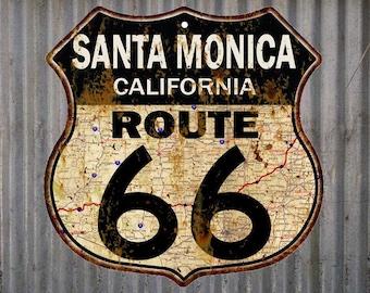 Santa Monica, California Route 66 Vintage Look Rustic 12X12 Metal Shield Sign S122097