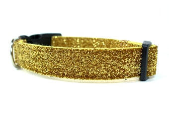 "Gold Glitter Dog Collar | Girl Dog Collar | Glitter Dog Collar | 1"" Width Only 