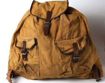 Vintage military canvas backpack, Distressed washed out backpack, Big travel backpack, Army, Hiking backpack, military rucksack
