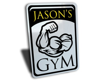 """Custom Personalized Gym Sign, Aluminum 7"""" by 10"""", great for present gift idea.  Fitness weights yoga strength training running exercise"""
