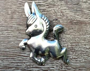 Vintage Donkey Brooch Vintage Silver Bell Trading Post Brooch Burro Southwest