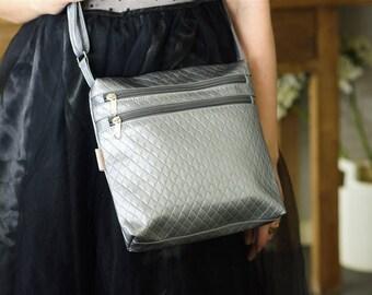 Crossbody Bag, Crossbody Purse, Silver Bag, Cross Body Bag, Cross Body Purse, Vegan Bag, Pouch Bag, Evening Bag, Evening Purse, Silver Purse