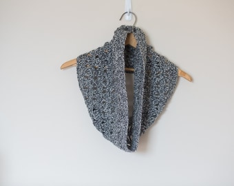 Ready to Ship - Grey Lacedrop cowl scarf, Neutral Cowl, Wool circle scarf