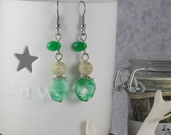 Handmade Minted Leaf Drop Earrings