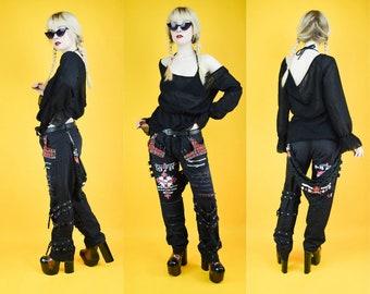 90s Punk Goth Black Bondage Tartan Safety Pin Low Rise Trousers Jeans M / L