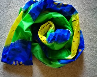 Bespoke designer hand painted by brush scarf /wrap in blue green yellow and gold roses