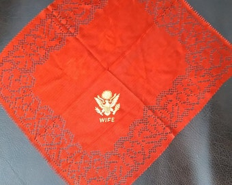 """Vintage, Army """"Wife"""" Hanky. Like New! Lot S"""