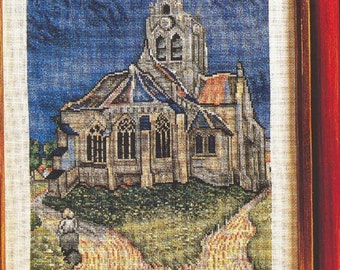 1 CROSS stitch, PATRON CHURCH of anvers- sur-oisè. France. Famous cross stitch pictures