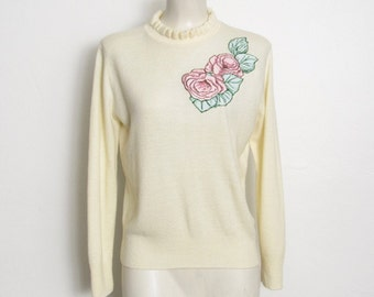 Keneth Too! Sweater / Cream Colored Knit w/ Pink Roses Appliqué & Glitter Puff Paint / Ruffled Collar / Vintage 80s Pullover