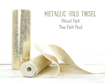 Metallic Gold Tinsel // Printed Wool Felt Roll // Metallic Gold Wool Felt // Gold Tinsel Wool // Holiday Felt
