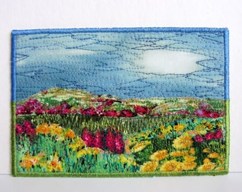 Landscape Quilt, Fabric Postcard, Quilted Card, Textile Card, Fabric Collage, Mini Art Quilt, Handmade Card, Flowers, Field, Fabric Art