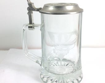 Vintage Winston cigarettes clear glass tankard beer stein. Free ship