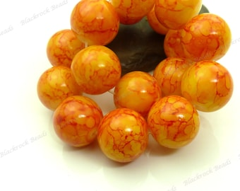 Sun Yellow and Red Orange Round Glass Beads - 12mm Smooth Mottled Beads, Shiny Colorful Bohemian Beads - 17pcs - BL28