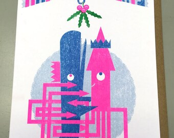 Squid and Whale Risograph Christmas Card-Blank Inside