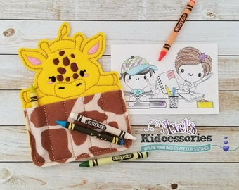 Giraffe Crayon Holder - Giraffe Crayon Caddy - Coloring Pencils Holder - Accessories for Kids - Candy Coloring Holder - Giraffe Party Favor