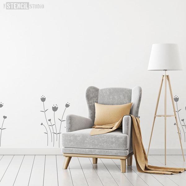 Linnea spring flower stencil scandi style wall furniture zoom mightylinksfo
