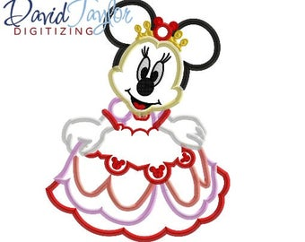 Princess Minnie Embroidery Design 4x4, 5x7, 6x10, 7x10 in 9 formats-Applique Instant Download-David Taylor Digitizing