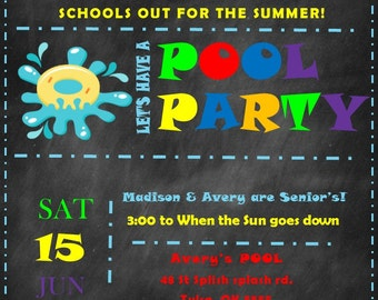 SCHOOLS OUT POOL party Invitations