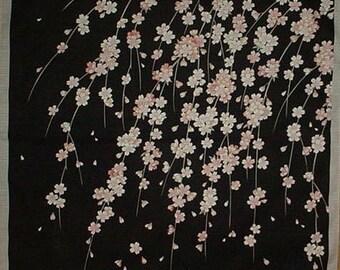 Japanese Cherry Blossom Tree Fabric Sakura Furoshiki 'Weeping Cherry Tree'  Black Cotton Japanese Fabric  50cm w/Free Insured Shipping