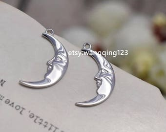 2 pcs sterling silver moon charm pendant  , QY3