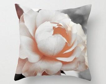 Vintage Rose Soft Sepia Summer Flower Hybrid Floral Garden Cream Peach Grey Bokeh Dreamy Shabby Chic Throw Pillow Cover Romantic Translucent