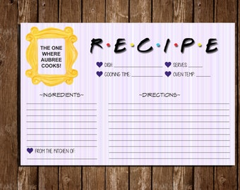 "Printable FRIENDS Recipe Cards/ Bridal Shower/ 6""x4"" Index Cards"